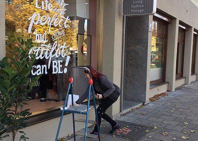 Schaufenster Beschriftung, OBEREDEL, Edeltraud Obermayr, Sign Painting, Handlettering
